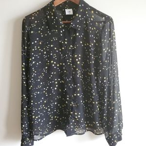 Cabi black starry sheer button down